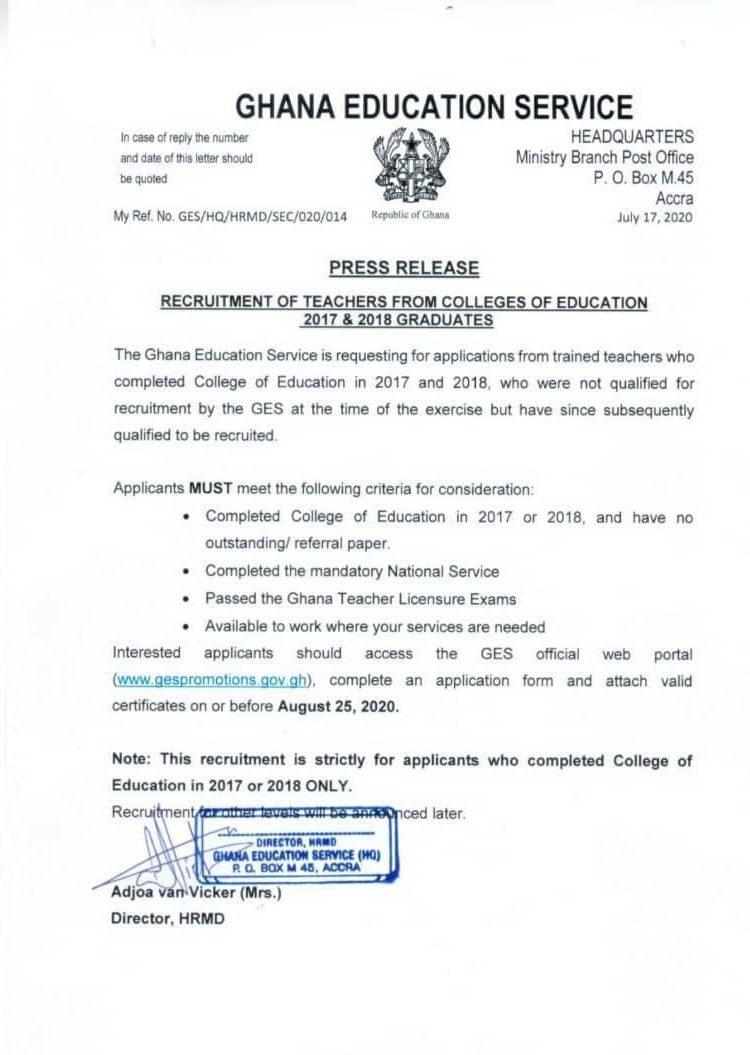 ges-begins-recruitment-of-2019-college-of-education-graduates